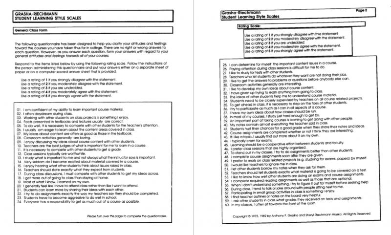 The Grasha-Riechmann Student Learning Styles Scale