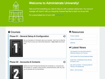 Screenshot of Administrate LMS